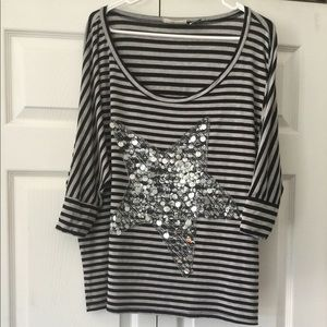 Miss Me Oversized Sequins Star Striped Top Large